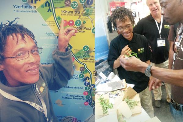 Andre from !Khwa ttu showing WTM visitors medicinal fynbos
